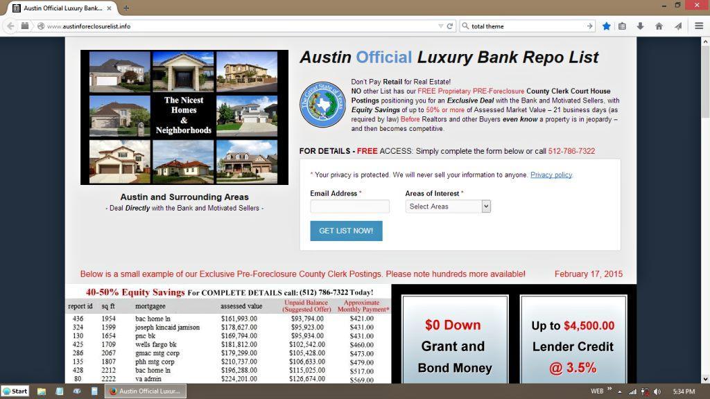 Austin Foreclosure List