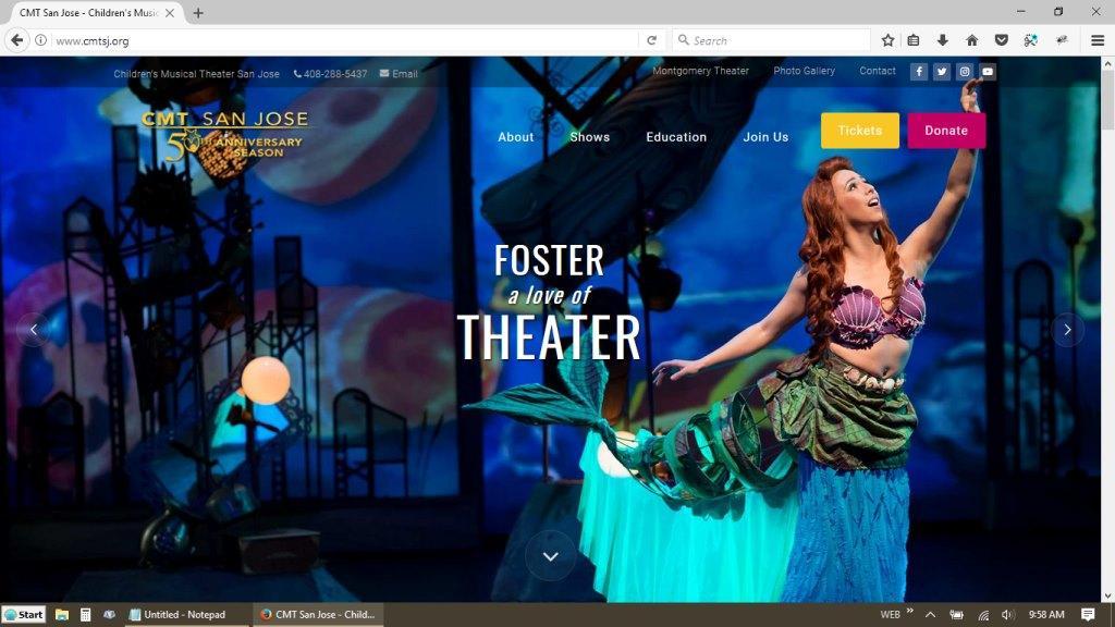 CMTSJ Children's Musical Theater San Jose Website Redesign