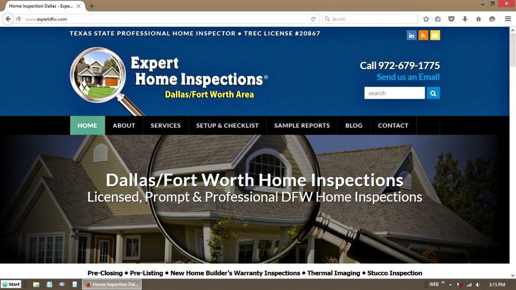 Expert Home Inspections WordPress Redesign   Austin Freelance Web Design  Portfolio