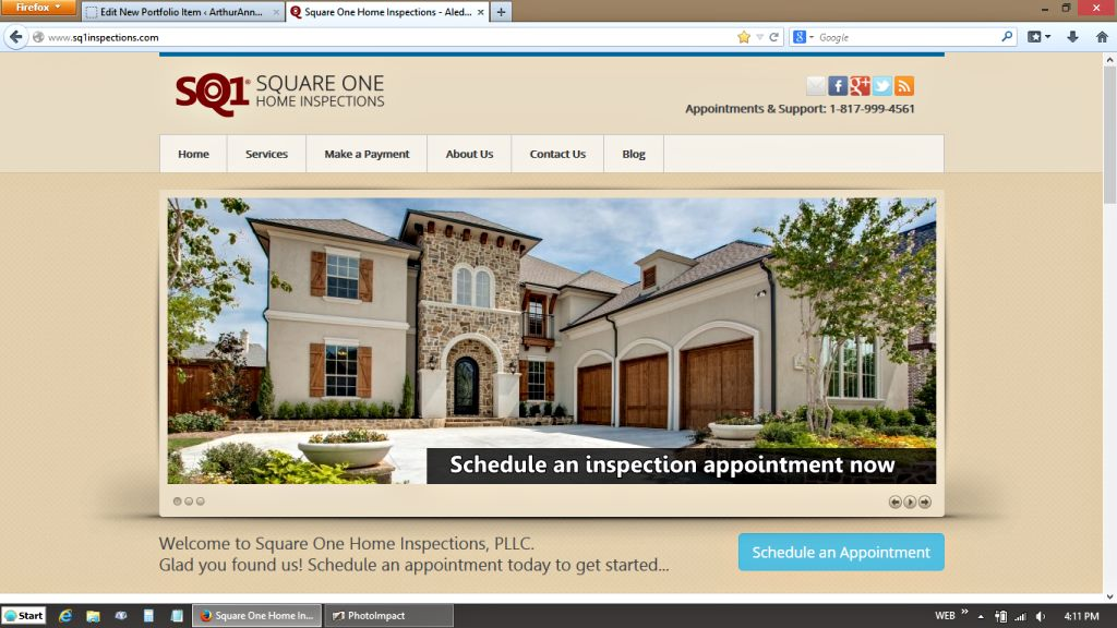 Beautiful Square One Home Inspections Website