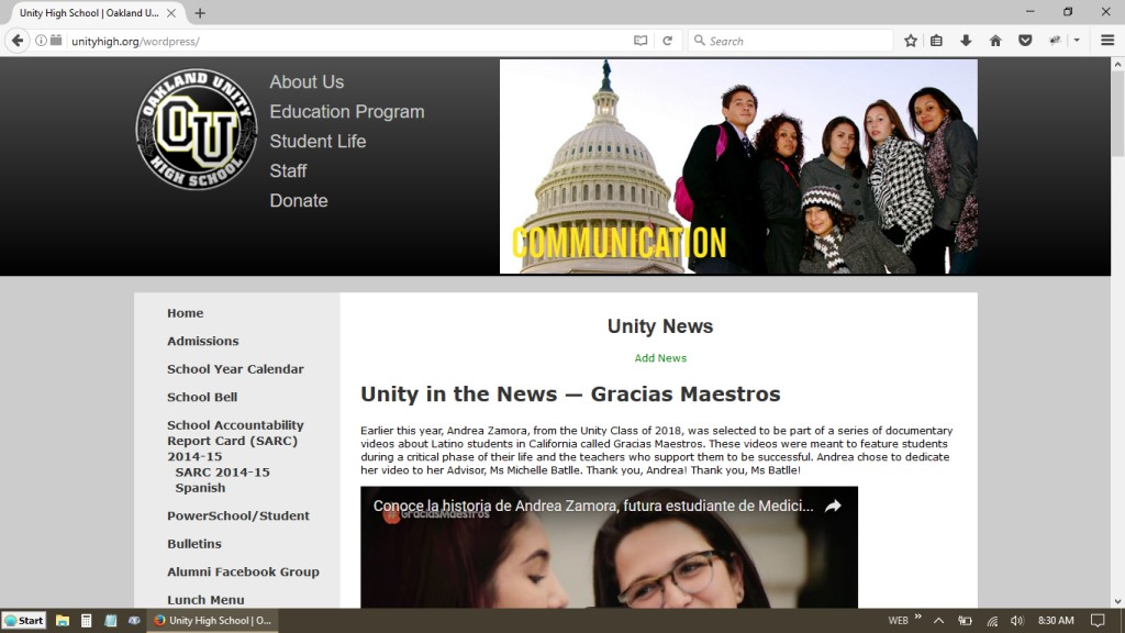 Oakland Unity Charter Schools Two New Redesigns Webdev San Jose